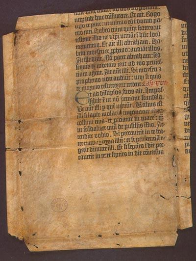 Pergamentöredék a Gutenberg Bibliából
