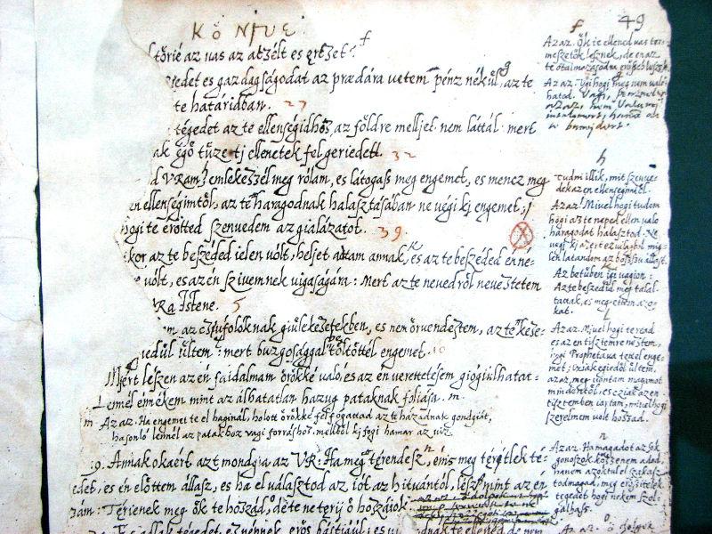 Károlyi kéziratos fordításának részlete