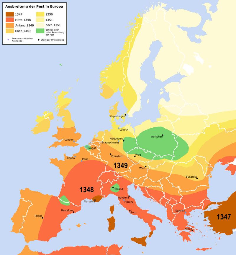 A pestis terjedése Európában
