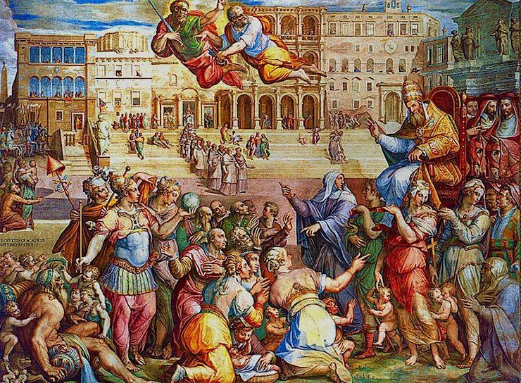 A Péter és Pál apostolok égi felvezetésével érkező XI. Gergely pápa